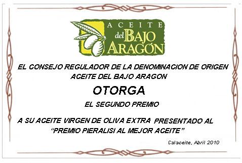segundo premio al mejor aceite del Bajo Aragón 2010
