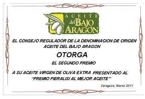 segundo premio al mejor aceite del Bajo Aragón 2011